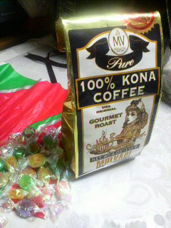100% KONA COFFEE and candy